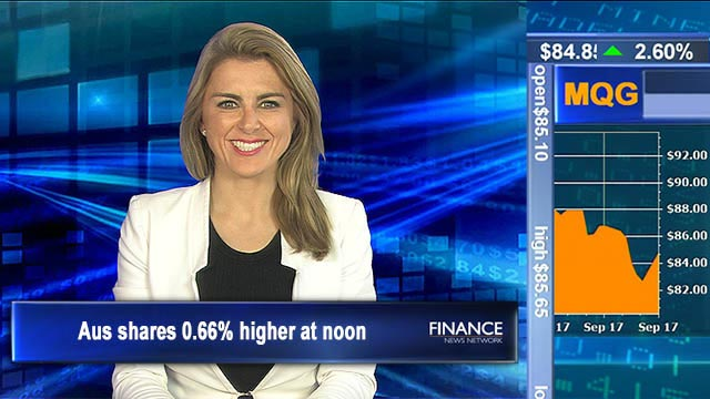 Financials lead us higher: Aus shares 0.66% up at noon