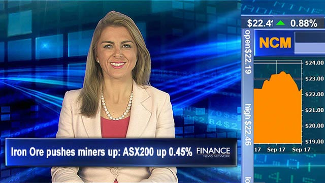 Iron Ore pushes miners up: Aus shares 0.45% higher at noon
