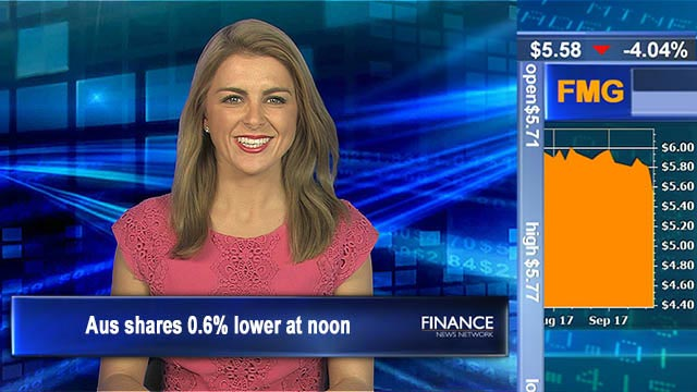 Iron Ore & AGL weigh: Aus shares 0.6% lower at noon