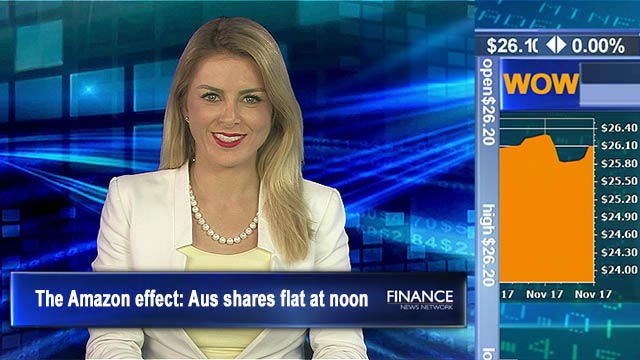 The Amazon effect: Aus shares flat at noon